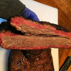 One of the prettiest beef ribs I've ever seen. Is that a smoke ring or a racing stripe?! Pic courtesy of @grill_hop_anonymous -  Just sliced the point off to make burnt ends. Juice!!!!!! #brisket #custompits #Grill #Grilling #BBQ #Barbecue #FoodPorn #GrillPorn #Beef #BeefPorn #Food #FoodPhotography #foodgasm #foodography #instafood #foodiegram #foodie #foodstagram #foodpics #Meat #MeatPorn #meatlover #Paleo #GlutenFree #BrotherhoodofBBQ #EEEEEATS #ForkYeah #GrillinFools
