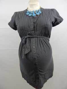 Ripe Maternity Grey Short Sleeve Button Up Tie Tunic-$14.99