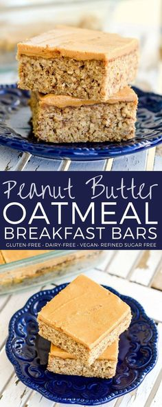 These Peanut Butter Oatmeal Breakfast Bars are an easy, healthy & filling make-ahead breakfast for busy mornings! They are loaded with fiber, protein & omega-3s to keep you full all morning long! Plus they're gluten-free, dairy-free, refined sugar free and vegan! #breakfast #bars #oatmeal #peanutbutter #glutenfree #dairyfree #vegan #healthy #refinedsugarfree via @joyfoodsunshine