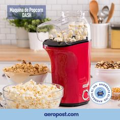 DASH Popcorn Machine: Hot Air Popcorn Popper Popcorn Maker with Measuring Cup to Measure Popcorn Kernels Melt Butter Red ** To view further for this item, visit the image link. (This is an affiliate link) Best Popcorn Kernels, Hot Air Popcorn Popper, Air Popper, Pop Popcorn, Popcorn Maker, Corn Pops, Microwave Popcorn, Kitchen Tools And Gadgets, Specialty Appliances