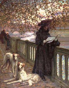 Garino, Angelo (b,1860)- Borzois & Woman Reading Letter on Bridge -2b {Duplicate Variation Below- this is less yellow}