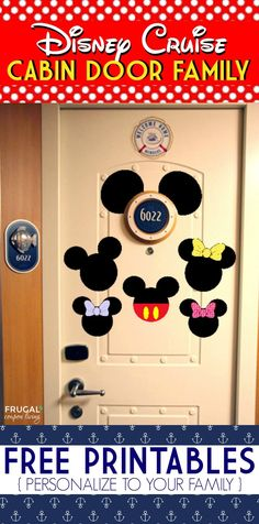 FREE Disney Cruise Door Printables on Frugal Coupon Living - Personalize to your family and print now! #cruise #printable #door #Disney #disneyworld #cruisng #vacation #travel #decor #disneycruise #disneycruisedoor