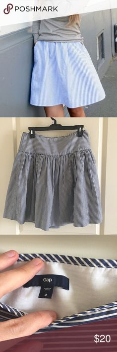GAP blue pinstriped skirt Pretty spring and summer skirt! 100% cotton. Fully lined. Invisible zipper. Like new condition. Smoke and pet free home. GAP Skirts