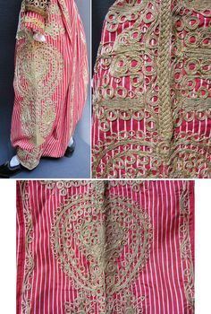 A traditional embroidered 'şalvar' (baggy trousers) from the central district of the Balıkesir province. Ca. 1925-1950. Part of a women's ensemble, with a 'gömlek' (shirt)alvar made of the same fabric (striped silk) and adorned with similar 'goldwork' embroidery in 'tutturma'-technique (applied cord). (Inv.nr. $al025 - Kavak Costume Collection - Antwerpen/Belgium).