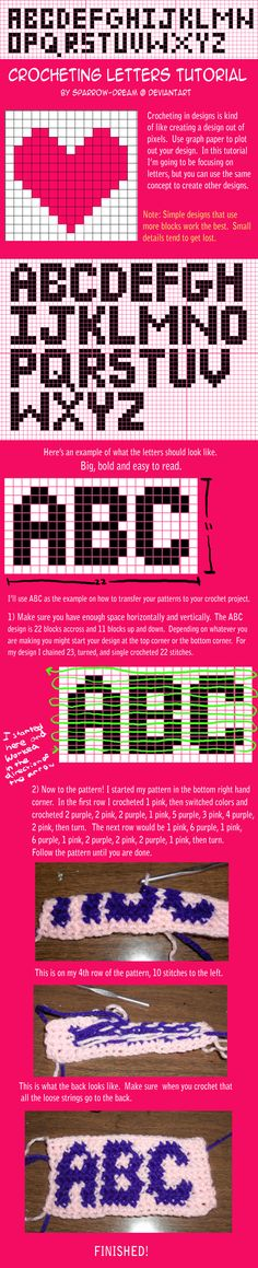 Crochet letters into a work with a block pattern