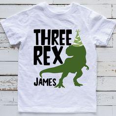 3 Year Old Birthday Party Boy, 3rd Birthday Party For Boy, Birthday Themes For Boys, Birthday Boy Shirts, Dinosaur Birthday Party, Birthday Party Themes, Birthday Ideas, T Rex, Party Ideas