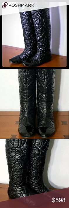 🎉RARE 100%AUTHENTIC QUILTED LEATHER CHANEL BOOTS! 💣💥💥💥HERE'S A WAY TO OWN YOUR VERY OWN PAIR OF DESIGNER 100% AUTHENTIC CHANEL KNEE HIGH STUNNING QUILTED LEATHER BOOTS AT A KILLER AFFORDABLE PRICE! OMG!💣💥💥💥  ❇️READ ENTIRE DESCRIPTION!❇️EURO-39/US-8❇️ ✳️(THESE RUN SMALL!)✳️  These are GORGEOUS Camelia patterned w/shiny patent leather toes! Pictures don't do them justice that's for sure! Get em while they last ladies cuz I'm sure it won't be for very long! I'm absolutely HEART BROKEN…