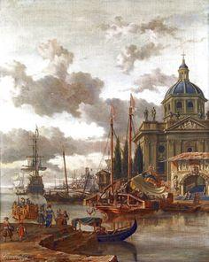 Абрахам Сторк (Abraham Jansz. Storck, 1644–1708, Flemish), Средиземноморский порт  84,5 х 68,3_х.,м.  Частное собрание