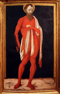 The Apostle St Bartholomew, 1480 by Italian painter Matteo di Giovanni c.1430-1495. Museum of Fine Arts, Budapest Hungary.