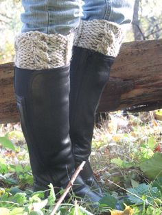 Boot cuff legwarmers chunky knit with cable your choice of colors wool/acrylic blend made to order on Etsy, $15.95