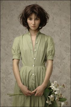 """Marie Aux Lys"" - Louis Treserras, France, realist {contemporary artist figurative realism beautiful female brunette woman painting} ♥ Intriguing !!"