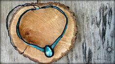 Tribal Handmade Ceramic Stone Macrame Necklace by MayasMacrameLab
