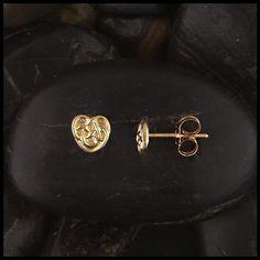 14k Tri-Color Gold Dangle Heart Post Earrings, 30mm X 5mm