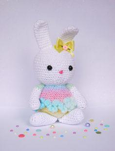 Large Amigurumi Crochet Rainbow Bunny. Lovely New baby, Christmas, birthday or girls christening gift. Made in Rainbow yarn.