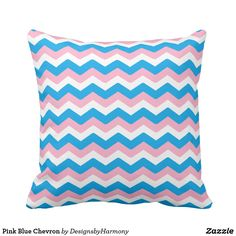 Pink Blue Chevron Throw Pillow
