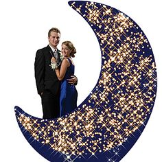 This Sparkle Moon Standee measures 8 feet high. This glittering moon standee is made of cardboard and is one sided. Free standing with easy assembly.