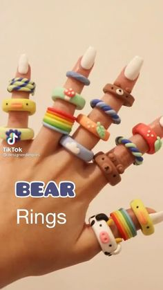 Diy Crafts To Do, Diy Crafts Jewelry, Ring Crafts, Cute Crafts, Clay Jewelry, Cute Diys, Jewellery, Fimo Ring, Polymer Clay Ring