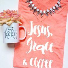 Jesus, Grace & Coffee V-neck