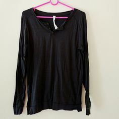 Lululemon black stripe cotton long sleeve Lightweight, thin horizontal stripes, three buttons at front neck, perfect condition, no signs of wear, like new condition lululemon athletica Tops