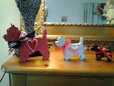 Hand crafted wooden free standing set of Westies £10 plus P&P at Mel's Shabby Chic Shack