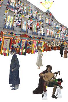 """""""In and Out"""" Dentro y fuera del Thyssen. Como puede observarse es la fachada del museo redecorada con todo tipo de materiales artísticos ya sean acrílicos, pinceles...etc. Y en la calle, a sus puertas, esperando a que sean abiertas para volver a su realidad, su vida contemplada dentro de un cuadro."""