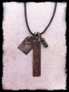 Mens or Unisex Hand Stamped Brass Tag Necklace by StonesOnString, $35.00