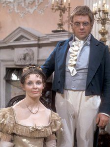 Sir Anthony Hopkins in an unfortunate costume - as Pierre Bezuhov in BBC's epic War and Peace 1972 and I think Morag Hood (?) as Natasha
