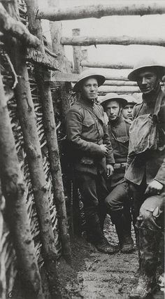 1918 - World War I U.S. Marines in a trench.