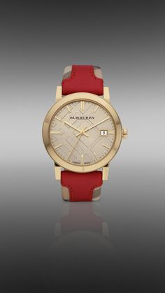 38mm Gold-Plated Watch with Haymarket Check Leather Strap |