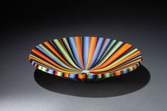 "One of the finalists in the Bullseye Emerge competition.  I love the colors in this piece.  By Bob Heath, ""Rainbow bowl with green center"""