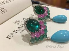 Do u love colours as much as I do? I can go on mixing and matching because gemstones with their rich hues fascinate me. Come view our festive collection in Hyderabad at ANGASUTRA tomorrow October. A palette of mouthwatering gemstones. Pearl Jewelry, Jewelry Art, Fine Jewelry, Jewelry Design, Jewellery, Stone Earrings, Diamond Earrings, Green Gemstones, Turquoise Earrings