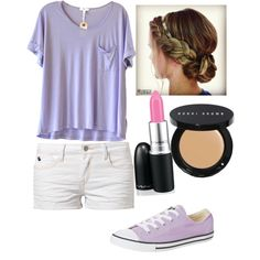 Cute school outfit by jessicaanthony on Polyvore featuring Clu, Le Temps Des Cerises, Converse, Bobbi Brown Cosmetics and M.A.C