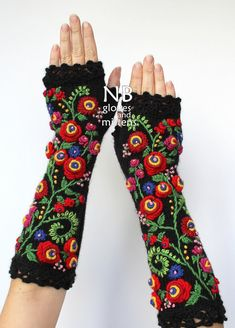 Hand Knitted Fingerless Gloves, Black, Bright Red, Pink, Rose, Blue, Green, Yellow, Clothing And Accessories, Gloves & Mittens, Gift Ideas, For Her, Winter Accessories,Flowers, Elegant, Flowers, Stumpwork Embroidery, Hand Crocheted Lace, Cozy, Handmade Accessories, For Women, Women