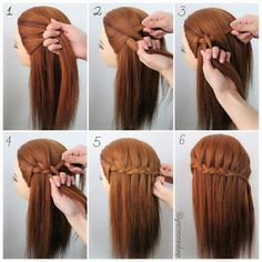 Three Strand Waterfall Braids into 3 equal section left secti… - Kinderfrisuren Medium Hair Braids, Medium Short Hair, Medium Hair Styles, Curly Hair Styles, Natural Hair Styles, Braids Step By Step, Step By Step Hairstyles, Tumblr Braids, Waterfall Braid Tutorial