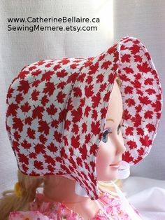 $22.00 Canada Day Red Maple Leaf bonnet for babies to adults.   Sewingmemere.etsy.com www.CatherineBellaire.ca