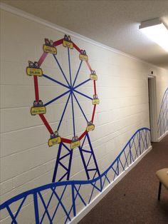 Vbs Themes, Carnival Themes, Circus Theme Classroom, Classroom Decor, School Decorations, School Themes, Boardwalk Theme, County Fair Theme, School Carnival