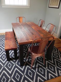 Sustainable furniture, dining table with matching bench | Made from salvaged wood  | Against The Grain Studio