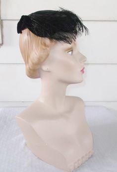 50s 60s Vintage Black Velvet Cocktail Hat with by MyVintageHatShop