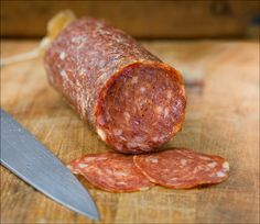 Hot Sopressata (Salumi Artisan Cured Meats - Seattle, WA) - A spicy pork salame with garlic. Intense color and slight bite.