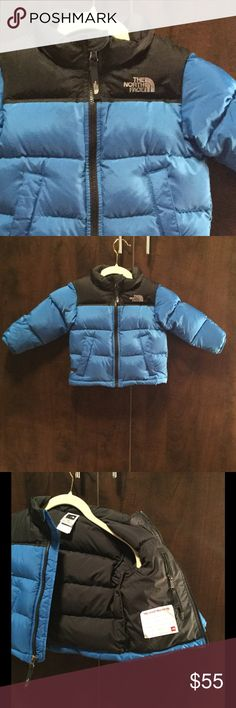 """North Face 2T 550 fill down Puffer Winter Coat North Face boys 2T puffer winter coat 550 fill down coat; blue and black; excellent condition; hardly worn; no visible marks & """"this coat belongs to"""" line never used; inside zipper pocket; outside zipper pockets on each side; North Face logo on front and back; this style does not have a hood North Face Jackets & Coats Puffers"""