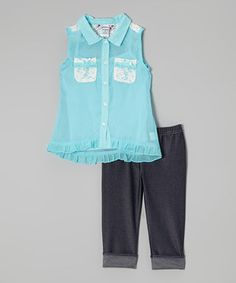Loving this Blue Ruffle Button-Up & Black Capri Leggings - Toddler & Girls on #zulily! #zulilyfinds