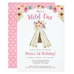 Boho Floral Tribal Teepee Wild One 1st Birthday Card - birthday gifts party celebration custom gift ideas diy