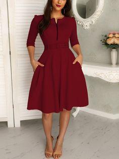 Elegant Plain Skater Dress with Belt – cillyy mall Source by grigorevkiryak dresses for women Simple Dresses, Elegant Dresses, Cute Dresses, Party Dresses, Chic Outfits, Dress Outfits, Fashion Outfits, Fashion Wigs, Cheap Fashion