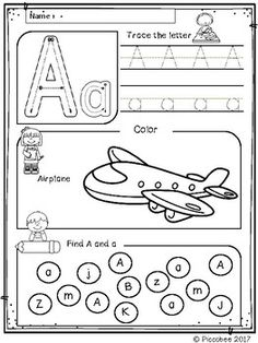 FREE Alphabet Worksheets (Set by Piccobee Alphabet Worksheets, Alphabet Activities, Literacy Activities, Educational Activities, Spanish Activities, Uppercase And Lowercase Letters, Letter Sounds, Lower Case Letters, Teacher Resources