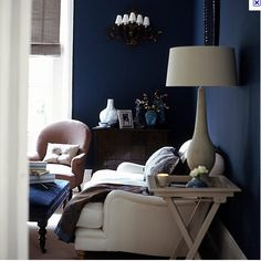 elegant navy and white living room, source unknown