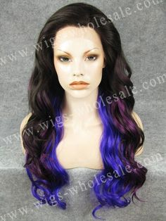 49.00$  Know more  - Halloween Party Wig  Long Wavy Cosplay Wig Purple Mixed Dark Brown Synthetic Lace Front Wig