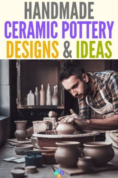 Handmade ceramic pottery designs and ideas. Check out the simple craft of how to make ceramic pottery and start a new hobby today. Make functional pieces like bowls, plates, or mugs. Crafts To Make And Sell, Sell Diy, Slab Pottery, Ceramic Pottery, Pottery Bowls, Diy For Men, Diy For Kids, How To Make Ceramic, Easy Crafts