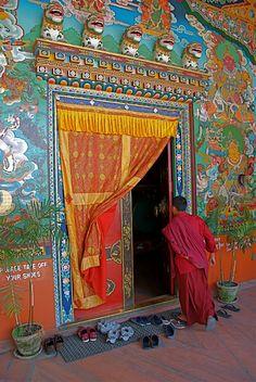 Monk entering temple, Kathmandu.