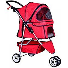 New Red Pet Stroller Cat Dog Cage 3 Wheels Stroller Travel Folding Carrier T13 by BestPet Find out how you can actually get a good stroller for your little one @ www.bestbabystrollerhq.com