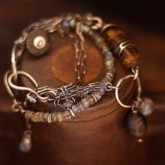 set two bracelets Baltic amber and labradorite от ewalompe
